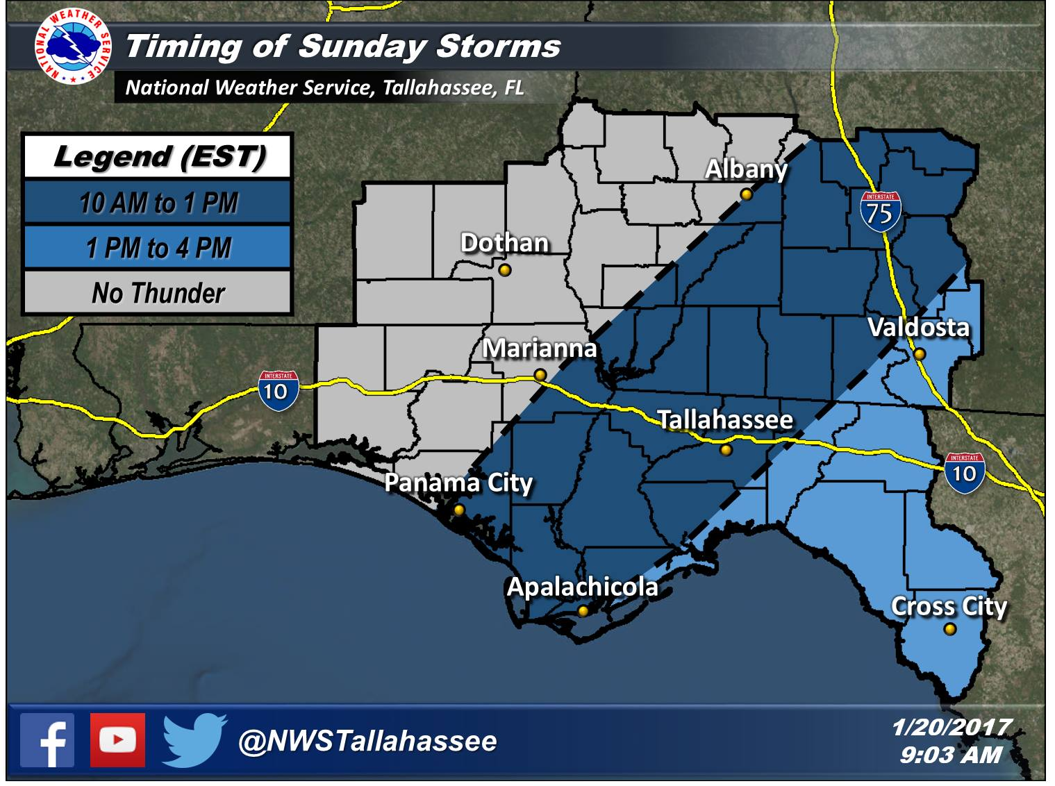 Timing of Sunday Storms