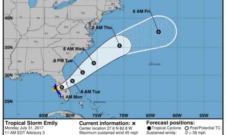 Tropical Storm Emily – Update (7.31.17 10am CDT)