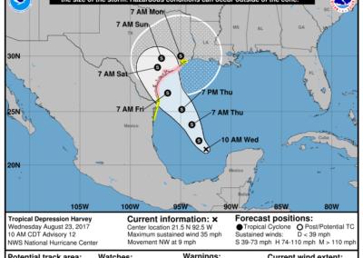 Tropical Depression Harvey 10am CDT 8.23.17