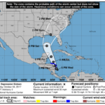 5pm CDT advisory on Tropical Depression 16 (10-4-17)