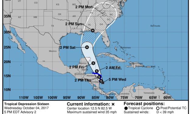 5pm CDT advisory on Tropical Depression 16 (10-4-17)