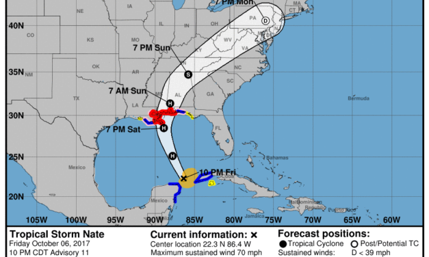 Nate almost a Hurricane moving into Gulf of Mexico